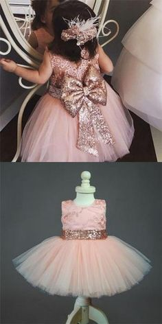 398b080d1b29 Ball Gown Scoop Pink Tulle Flower Girl Dresses with Lace Sequins Bow Knot,  QB0081