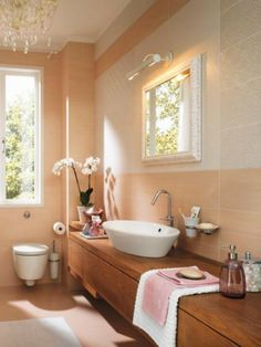 Bathroom: peach wall tile, wood vanity. Mirror and the lighting, no shelf in front of the face.