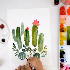 EASY Watercolor Cactus Tutorial Learn to paint loose watercolor cacti on the Snowberry Design Co You Watercolor Paintings For Beginners, Watercolor Art Diy, Watercolor Cactus, Painting Videos, Watercolor Painting Tutorials, Simple Paintings For Beginners, Simple Watercolor Flowers, Doodle Art For Beginners, Watercolor Beginner