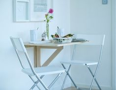 A pair of $29.99 IKEA NORBO wall-mounted drop-leaf tables could offer enough work space for a laptop user. (OR CHILDS ROOM)