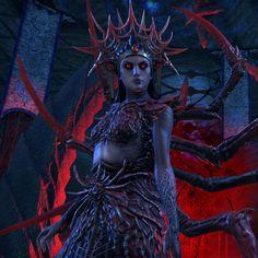 Mephala in the Dreaming Cave (ESO) Skyrim Elder Scrolls Online, Elder Scrolls Lore, Fantasy Inspiration, Character Design Inspiration, Daedric Prince, Scrolls Game, Spooky Costumes, Darkest Dungeon, Character Portraits