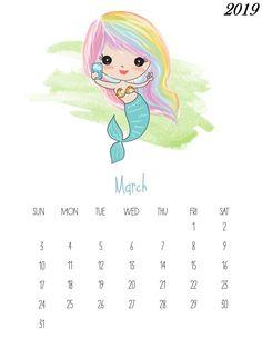 This Free Printable 2019 Kawaii Mermaid Calendar is gonig to make you smile! It is fabulous for mermaid lovers of all ages! Calendar Wallpaper, Print Calendar, Kids Calendar, 2019 Calendar, Calendar Ideas, Free Printable Calendar Templates, Monthly Calendar Template, Free Printables, Monthly Planner
