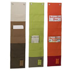 Store and organize your favorite magazines and journals in style with our Fabric Magazine Organizer. Use one to organize comic books in the kid's room, to-go menus by the phone, periodicals in the home office or literature in a classroom. Constructed from durable, hard-wearing polyester canvas Includes eight pockets Hanging hardware not included