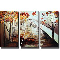 Artist: Unkownn  Title: A Walk in the Rain  Product type: Hand-painted gallery wrapped canvas art