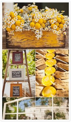 love this box of flowers...yellow white and distressed gray with yellow paint box
