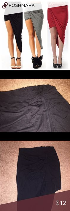 Forever 21 Asymmetrical Knot Twist Skirt BNWT SIMILAR STYLE TO 1st PIC- ONLY INCLUDED BC MY LIGHTING SUCKS * Asymmetrical * Elastic waistband * Shows off the leg Forever 21 Skirts Asymmetrical