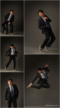 Crazy cool senior boy in suit and tie dancing and leaping during senior pictures photographed by Brooke Clark for Studio B Portraits