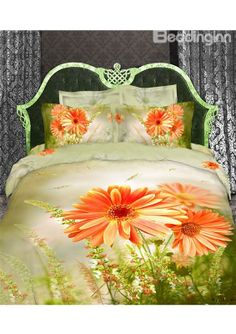 $ 91.19 100% Cotton Orange Daisy Flower Print with Light Green Duvet Cover 4 Piece Bedding Sets