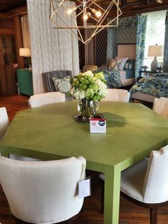 Spotted by @LoriGilder at Thibaut. This hexagonal dining table covered in a luxurious grass green grasscloth brings a modern sensibility to any kitchen or dining space. #HPMKT #HPMKTSS Thibaut Fine Furniture:   Market Square 260