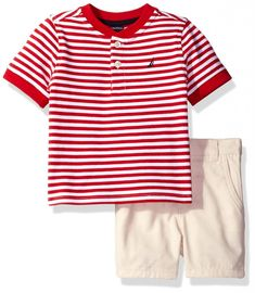 ca4ac877bf33 Nautica Baby Boys  Henley Shirt with Flat Front Short Set
