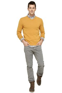 Vince - cashmere blend v-neck sweater, gingham checked button-down shirt, vintage five-pocket jeans, moccasin toe boots