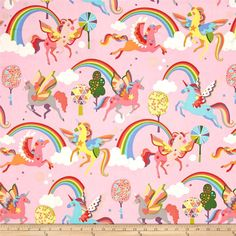 Alexander Henry Monkey's Bizness Magic Rainbow Shine Pink from @fabricdotcom  From the DeLeon Group for Alexander Henry, this cotton print fabric brings life to one of nature's most magical creatures: the unicorn. Perfect for quilting, apparel and home decor accents. Colors include white, orange, shades of pink and blue, forest green, green, grey, purple, lime green and coral.