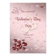 Red heart Valentine's Day Party invitation