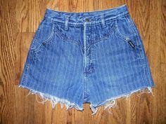 Vintage Denim Cut Offs - Vintage 80s/90s Blue Jean Shorts - High Waisted Cut Off/Frayed/Striped Short Shorts - 10 Dollar Sale. $10.00, via Etsy.
