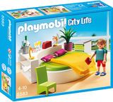 Relax after a long day in a cozy bed in this Playmobil modern bedroom playset. Play Mobile, Playmobil Sets, Modern Mansion, Cozy Bed, City Life, Modern Bedroom, Bedding Sets, Kids Toys, Action Figures
