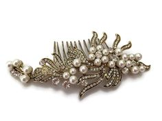Vintage Gold Look Crystal and Pearl Hair Comb Slide Flower Spray Design Bridal