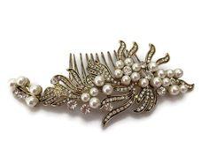 Vintage Gold Look Crystal and Pearl Hair Comb Slide Flower Spray Design Bridal