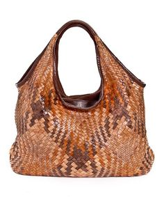 Take a look at this Terra Woven Kelly Medium Leather Tote by Carla Mancini on #zulily today!