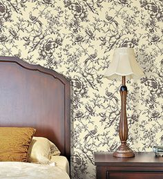 Classic cream and black floral toile. #traditional #wallpaper #french #country