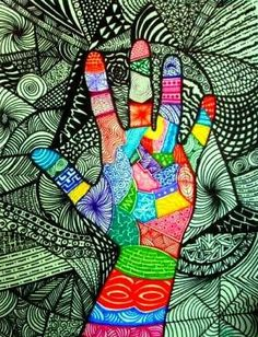 doodle the hand in color and black and white background.....Artsonia Art Museum :: Artwork by MrsTsiao