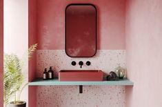 Pink Bathroom: Designs & Decoration Photos - Home Fashion Trend Grey Bathrooms, Bathroom Sets, Mirror Bathroom, Bathroom Cabinets, White Bathroom, Bathroom Storage, Modern Bathroom, Bathroom Trends, Bathroom Interior