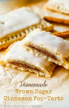 "Homemade Brown Sugar Cinnamon Pop-Tarts. None of the processed junk, 100% from scratch. The frosting ""sets"" after an hour making them identi..."