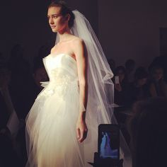 Beautiful tulle strapless gown. #christos #bridalmarket