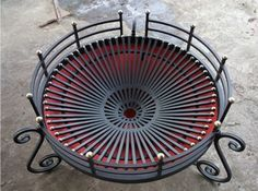 Easy to move, easy to operate, easy to clean. Metal Fire Pit, Cool Fire Pits, Diy Fire Pit, Fire Pit Backyard, Iron Furniture, Steel Furniture, Metal Projects, Welding Projects, Metal Design