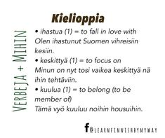 Learn Finnish, Finnish Language, My Way, Languages, Finland, Falling In Love, Learning, Green, Exercise