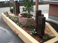 枕木 花壇 植栽