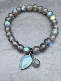 Luscious Labradorite Bracelet with Pale Aqua by ThreeJewelsDesigns