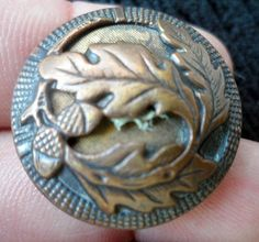 Antique Victorian Stamped Copper Metal Picture Button Acorns Leaves