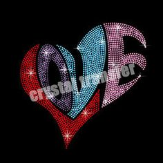 Rhinestone Heat Transfers Wholesale Colourful Heart Custom Design