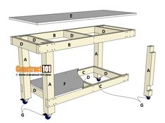 Few things in life are as much fun as woodworking. Woodworking allows you to show off your carpentry skills. Woodworking is great for so many reasons. Simple Workbench Plans, Garage Workbench Plans, Building A Workbench, Woodworking Workbench, Woodworking Projects Diy, Woodworking Shop, Workbench Ideas, Workbench Top, Industrial Workbench