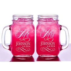 Mr and Mrs Set of 2 Personalized Mason Jars Drinking Mugs with Handle Personalized Custom Etched with Name and Date for Wedding, Engagement Anniversary Bridal Party Gift of Favor for Newlyweds Couple Etched Laser Engraved His and Hers Couple Gift Idea, http://www.amazon.com/dp/B00KA908CG/ref=cm_sw_r_pi_awdm_bviuub0Z81M12