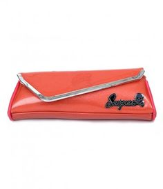 Feel like a night out, dames? A fabulous coral glitter vinyl clutch with an asymmetrical envelope closure, designer hard...Price - $29.00-dxoTxui4