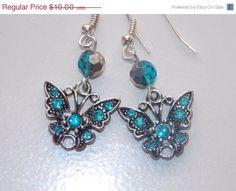 25%OFF SALE Blue Butterfly Earrings by EriniJewel on Etsy