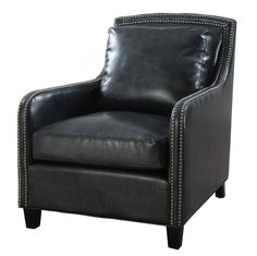 Greenwich Black Leather Club Chair by TOV
