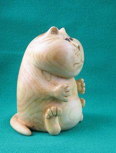 Cat Wooden figurine hand carving от WoodSculptureLodge на Etsy
