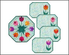 Spring Tulips Table Topper & Placemats by jbquiltdesigns
