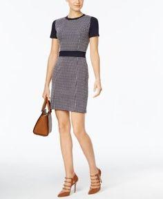 Michael Michael Kors Petite Gingham Textured Sheath Dress - Blue P/XS
