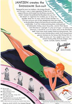 Jantzen creates the Shouldaire Sun-suit. Vintage 1920's bathing suit / swimwear ad. @vintageclothin.com