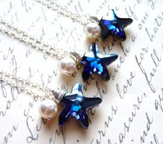 Bridesmaid Necklace Set Swarovski Starfish Necklaces by JBMDesigns