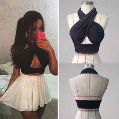Women Strappy Cross Over Front Cut Out Halter Neck Sleeveless Backless Crop Top Bandage Vest Summer Sexy Tops Woman Clothes S-XL Halter Crop Top, Sleeveless Crop Top, Halter Neck, Cheap Tank Tops, Black Crop Tops, Fashion Outfits, Diy Fashion, Fashion Clothes, Casual Outfits