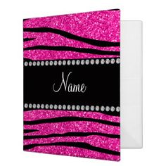 Shop Custom name neon hot pink glitter zebra stripes 3 ring binder created by Brothergravydesigns. Personalize it with photos & text or purchase as is! Pink Office, Neon, Name Gifts, 3 Ring Binders, Binder Inserts, Binder Design, Custom Binders, Monogram Gifts, Pink Glitter