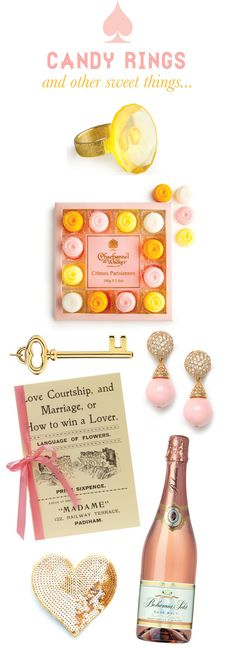 Mrs. Lilien Blog - Candy Ring / Cremes Parisiennes / Rose Gold Drop Earrings / Tiffany Key / Love, Coutrship + Marriage or How To Win A Lover / Ban.do Heart / Bohemia Sket, Rose Brut. Bridal Shower, Bachelorette Party or Baby Girl Shower Ideas? ^_~ <3
