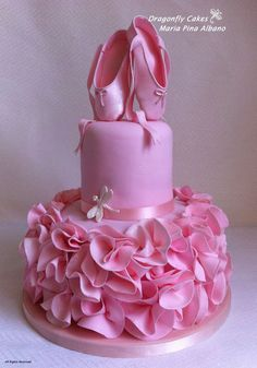Love this Ballerina Cake featuring a tutu bottom, and ballet shoes on top.