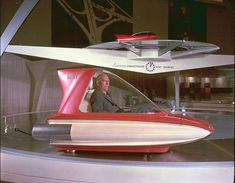 1960 Ford Levacar Mach I Concept Vehicle that floated a few inches off the ground on three air jets, but only while tethered over a glass floor within the Ford Rotunda.