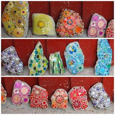 Leena Nio Mosaic Rocks, Mosaic Art, Mosaic Glass, Stained Glass, Art Activities For Kids, Art For Kids, Mosaic Garden, Stone Art, Stone Painting