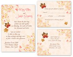 fall wedding invintations   50 Fall Autumn Leaf Wedding Invitations with RSVP and Reception Cards ...